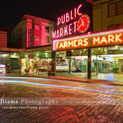 Photo, Photography, Image, Landscape, Print, Canvas, Metal, Seattle, Pike Place Market, Night, Cityscape, Light Trails, Farmers Markert