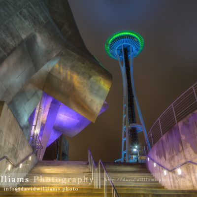 Photo, Photography, Image, Landscape, Print, Canvas, Metal, Seattle, Pike Place Market, Night, Cityscape, EMP, Space Needle, Seahawks