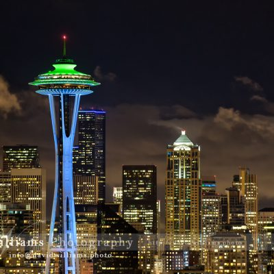 Photo, Photography, Image, Landscape, Print, Canvas, Metal, Seattle, Pike Place Market, Night, Cityscape, Space Needle, Seahawks